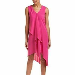 Adrianna Papell Hot Pink Draping Deep V Neck Dress